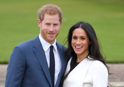 LONDON, ENGLAND - NOVEMBER 27:  Prince Harry and Meghan Markle attend an official photocall to annou...