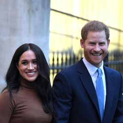 LONDON, UNITED KINGDOM - JANUARY 07: Prince Harry, Duke of Sussex and Meghan, Duchess of Sussex leave after their visit to Canada House in thanks for the warm Canadian hospitality and support they received during their recent stay in Canada, on January 7, 2020 in London, England. (Photo by DANIEL LEAL-OLIVAS  - WPA Pool/Getty Images)