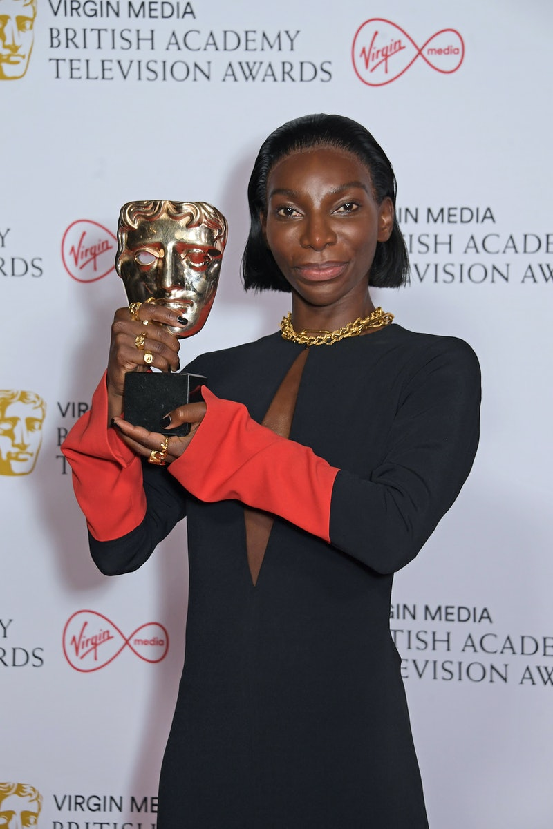"""LONDON, ENGLAND - JUNE 06:   Michaela Coel, winner of the Best Actress award for """"I May Destroy You"""", poses in the Winners Room at the Virgin Media British Academy Television Awards 2021 at Television Centre on June 6, 2021 in London, England. (Photo by David M. Benett/Dave Benett/Getty Images)"""