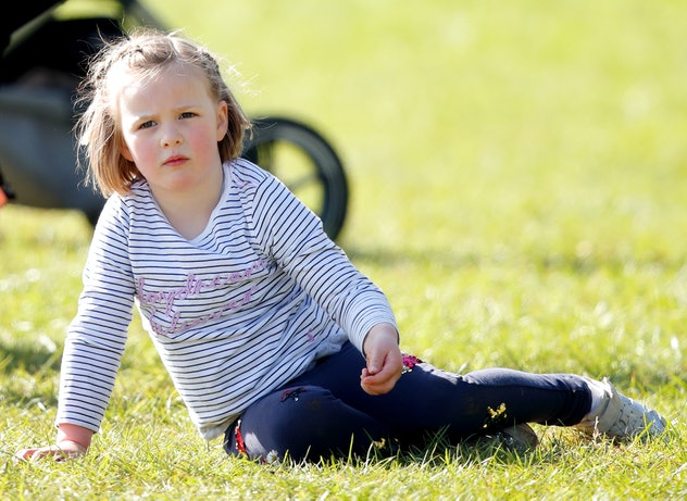 Queen Elizabeth's great-grandchild Mia Tindall attends the Gatcombe Horse Trials at Gatcombe Park on March 24, 2019 in Stroud, England.
