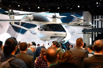 The Hyundai S-A1 electric Urban Air Mobility concept is displayed January 7, 2020 at the 2020 Consumer Electronics Show (CES) in Las Vegas, Nevada. - The flying taxi is designed for Uber Elevate's upcoming urban air travel service. (Photo by Robyn Beck / AFP) (Photo by ROBYN BECK/AFP via Getty Images)