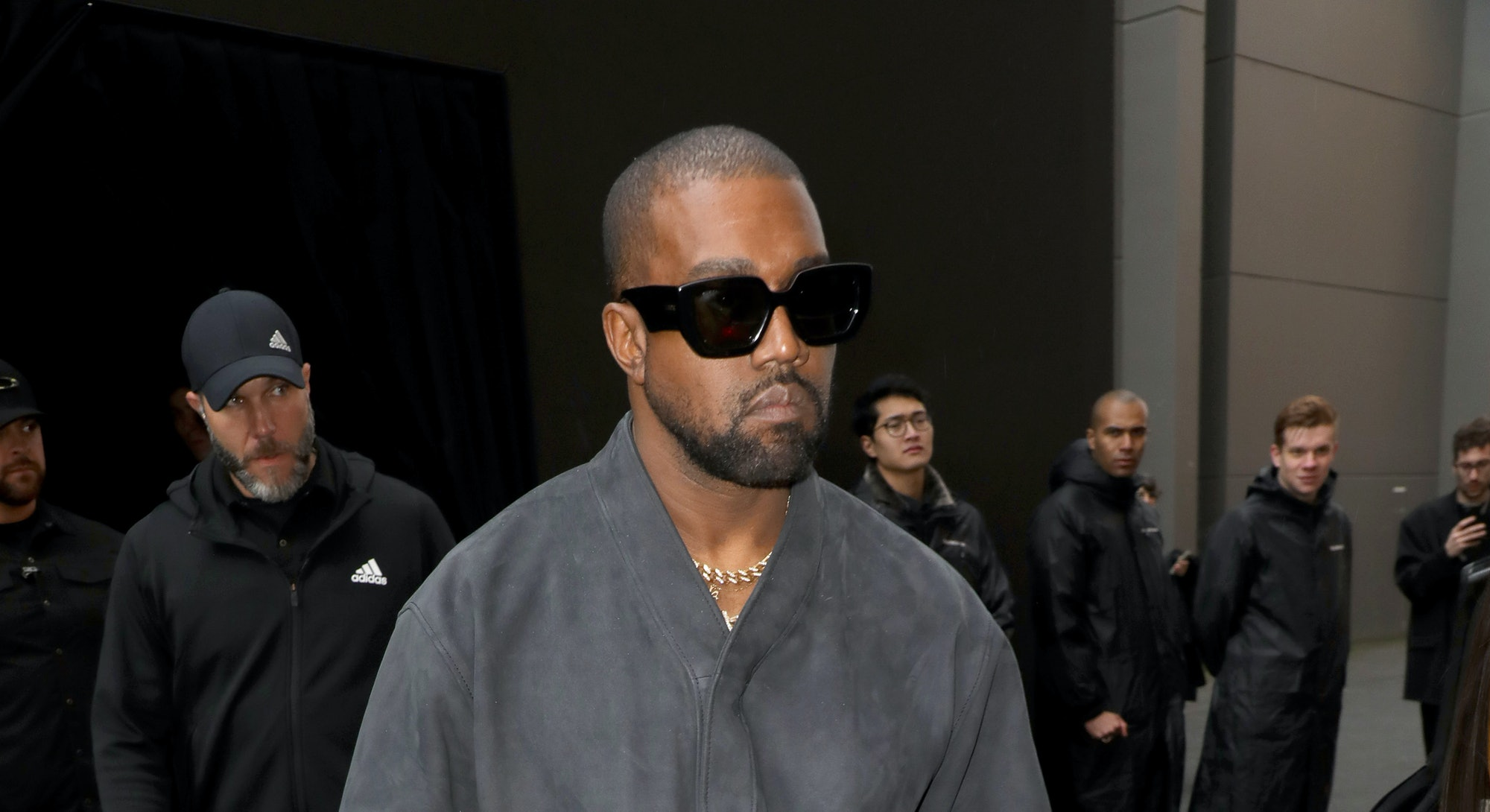 PARIS, FRANCE - MARCH 01: (EDITORIAL USE ONLY) Kanye West attends the Balenciaga show as part of the...