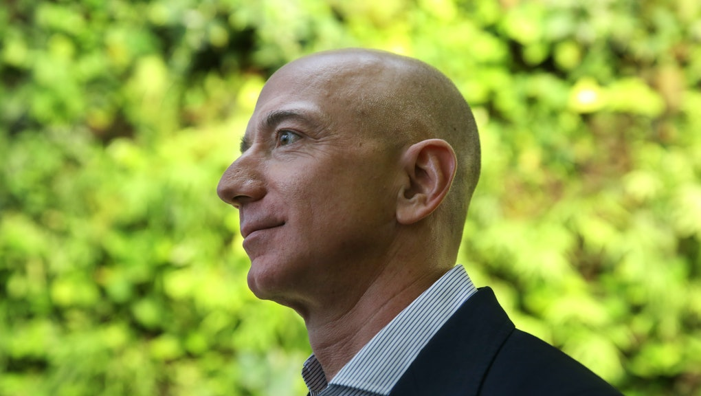 Amazon CEO Jeff Bezos tours The Spheres during an opening day unveiling event, Monday morning, Jan. ...