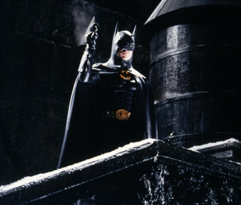 American actor Michael Keaton on the set of Batman Returns, directed by Tim Bruton. (Photo by Warner...
