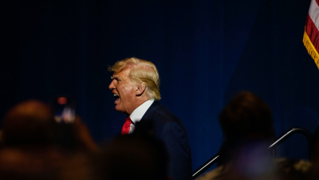 GREENVILLE, NC - JUNE 05: Former U.S. President Donald Trump exits the NCGOP state convention on June 5, 2021 in Greenville, North Carolina. The event is one of former U.S. President Donald Trumps first high-profile public appearances since leaving the White House in January. (Photo by Melissa Sue Gerrits/Getty Images)