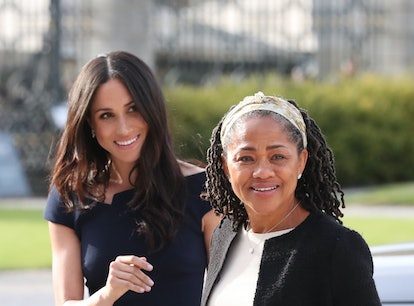 BERKSHIRE, ENGLAND - MAY 18:  Meghan Markle and her mother, Doria Ragland arrive at Cliveden House H...