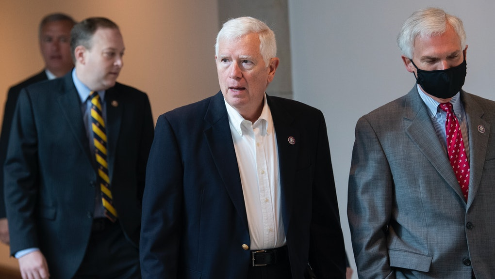 UNITED STATES - MAY 14: Rep. Mo Brooks, R-Ala., and Rep. Bob Latta, R-Ohio, right, are seen in the Capitol Visitor Center before Rep. Elise Stefanik, R-N.Y., won the election for House Republican Conference chair on Friday, May 14, 2021. (Photo By Tom Williams/CQ-Roll Call, Inc via Getty Images)