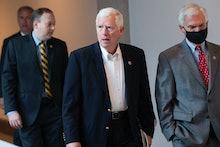 UNITED STATES - MAY 14: Rep. Mo Brooks, R-Ala., and Rep. Bob Latta, R-Ohio, right, are seen in the C...