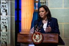GUATEMALA CITY, GUATEMALA - JUNE 07: Vice President Kamala Harris speaks while Guatemalan President ...