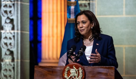 GUATEMALA CITY, GUATEMALA - JUNE 07: Vice President Kamala Harris speaks while Guatemalan President Alejandro Giammattei listens at the Palacio Nacional de la Cultura on on Monday, June 7, 2021. This week, the Vice President is visiting Guatemala and Mexico to discuss the root causes of migration from the Central American countries in what is known as the Northern Triangle  Honduras, El Salvador and Guatemala. (Kent Nishimura / Los Angeles Times via Getty Images)