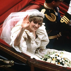 The Prince and Princess of Wales return to Buckingham Palace by carriage after their wedding, 29th J...