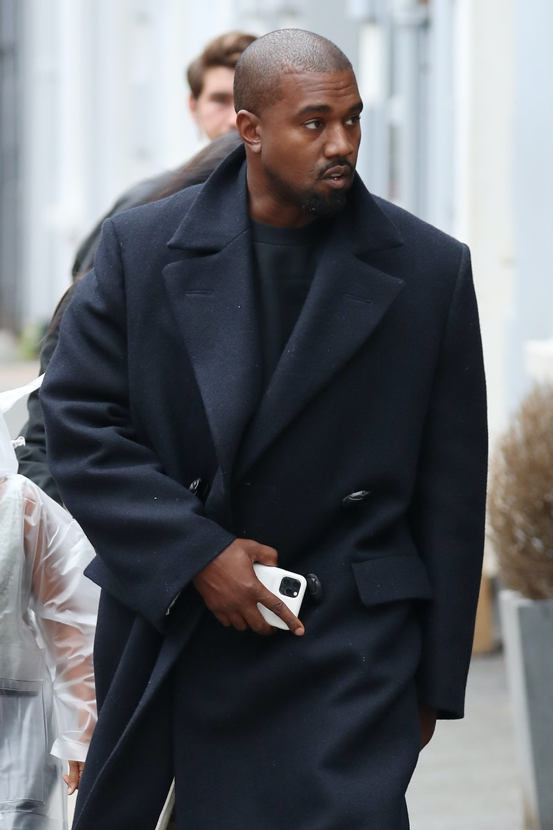 Kanye West wears a fall-appropriate coat while leaving Michiko Sushino restaurant with his daughter North West in Queen's Park on October 10, 2020 in London, England. The first piece from his YEEZY Gap partnership has just dropped online in the U.S.