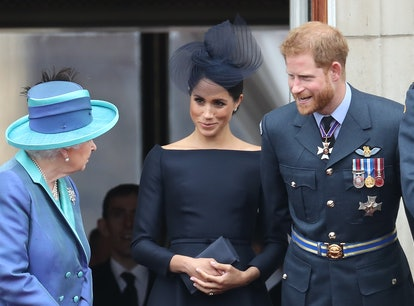 LONDON, ENGLAND - JULY 10: Queen Elizabeth II, Prince Harry, Duke of Sussex and Meghan, Duchess of S...