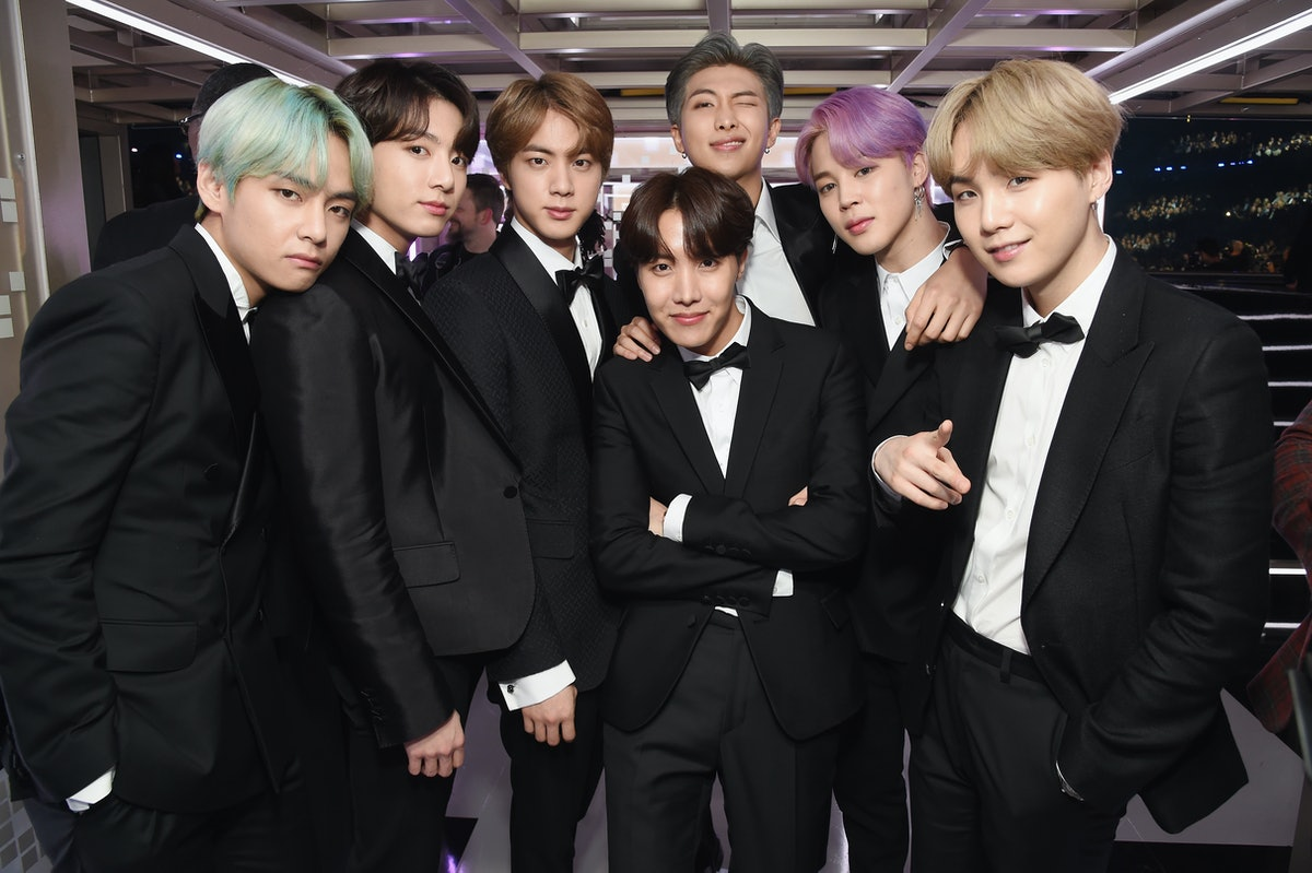 LOS ANGELES, CA - FEBRUARY 10:  BTS backstage during the 61st Annual GRAMMY Awards at Staples Center on February 10, 2019 in Los Angeles, California.  (Photo by Michael Kovac/Getty Images for The Recording Academy)