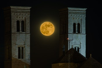 The supermoon between the towers of the Cathedral of Molfetta (in a double exposure) on May 26, 2021...