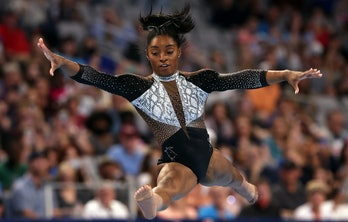 FORT WORTH, TEXAS - JUNE 06:  Simone Biles competes in the floor exercise during the Senior Women's competition of the U.S. Gymnastics Championships at Dickies Arena on June 06, 2021 in Fort Worth, Texas. (Photo by Jamie Squire/Getty Images)