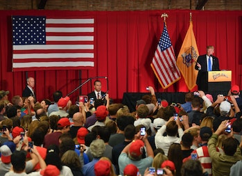 LAWRENCEVILLE, NJ - MAY 19: Republican presidential candidate Donald Trump speaks to supporters at a fund raising event at the New Jersey National Guard Armory on May 19, 2016 in Lawrenceville, NJ. (Photo by Ricky Carioti/The Washington Post via Getty Images)