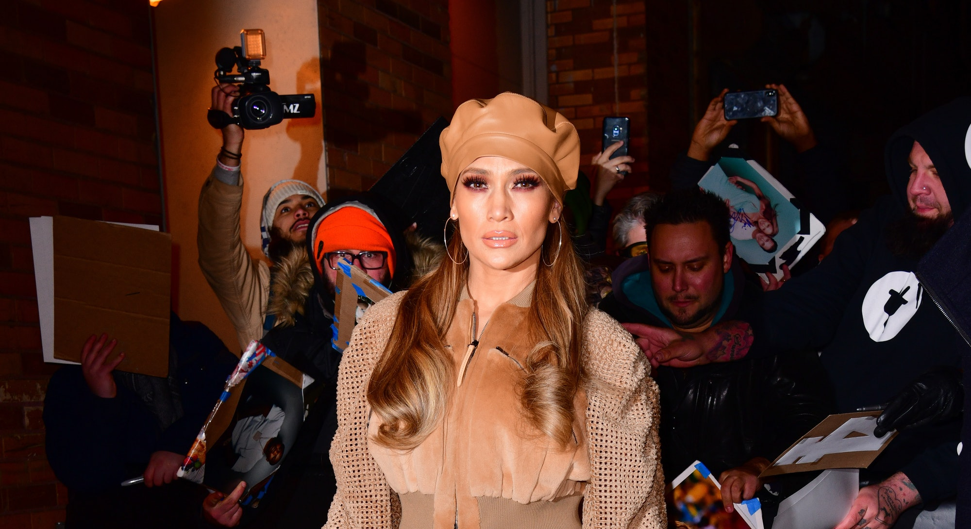 Jennifer Lopez leaves the 'The Daily Show With Trevor Noah' on December 11, 2018 in New York City.