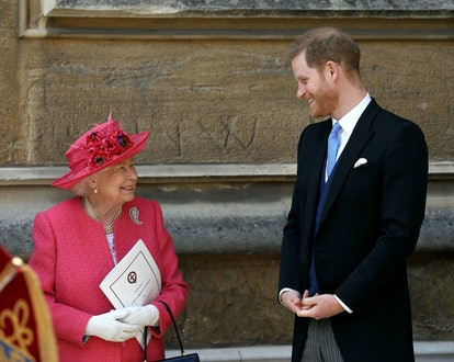 WINDSOR, ENGLAND - MAY 18: Queen Elizabeth II speaks with Prince Harry, Duke of Sussex as they leave after the wedding of Lady Gabriella Windsor to Thomas Kingston at St George's Chapel, Windsor Castle on May 18, 2019 in Windsor, England. (Photo by Steve Parsons - WPA Pool/Getty Images)