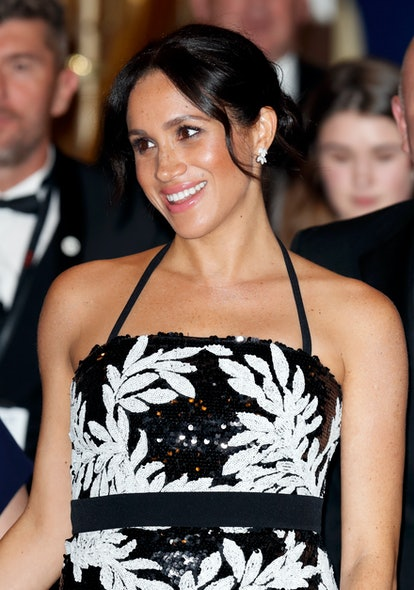 LONDON, UK - NOVEMBER 19: (EMBARGOED FOR PUBLICATION IN BRITISH NEWSPAPERS UP TO 24 HOURS AFTER CREATION DATE AND TIME) Meghan, Duchess of Sussex attends the Royal Variety Performance 2018 at the London Palladium on 19 November 2018 in London, England.  (Photo by Max Mumby / Indigo / Getty Images)