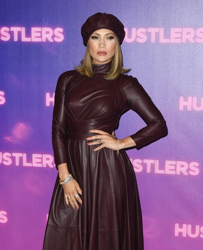 Jennifer Lopez wore a leather burgundy beret while attending a photo call for 'Hustlers' in 2019.