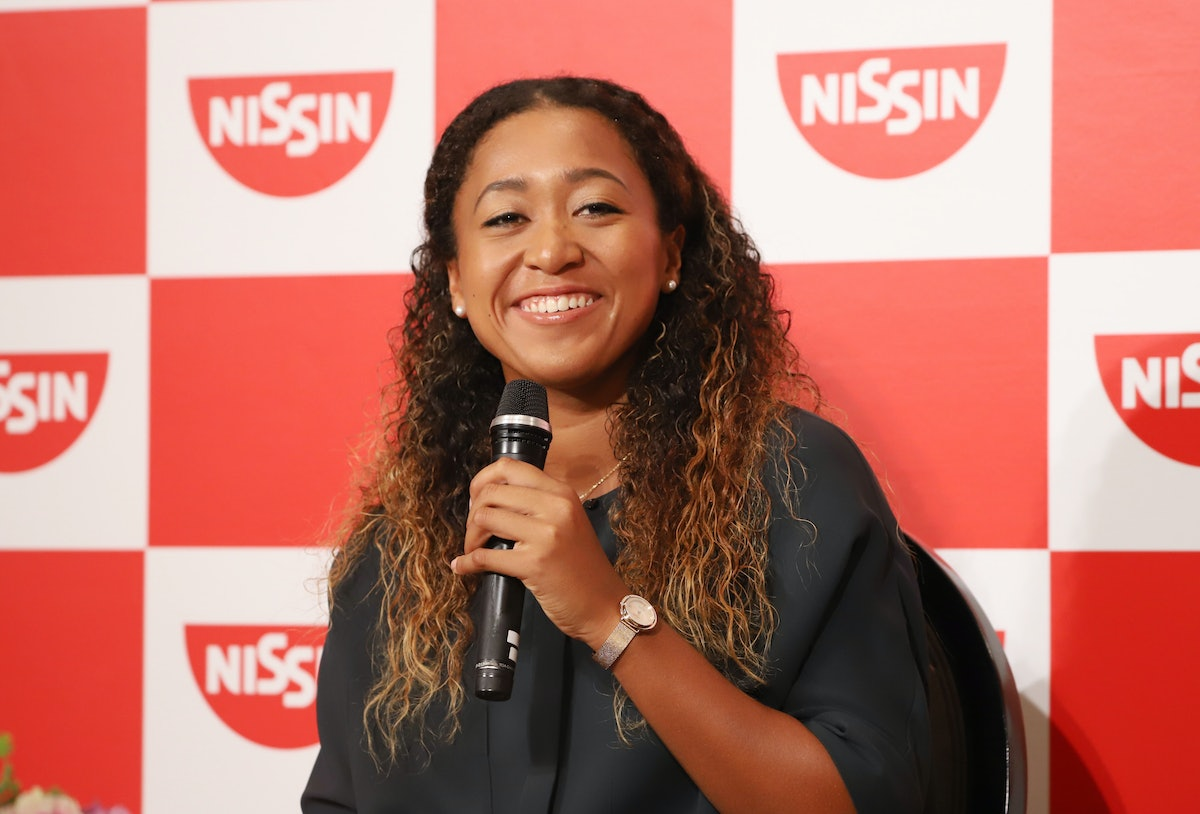 Naomi Osaka, who will compete in the 2021 Olympics, speaks at a press conference.