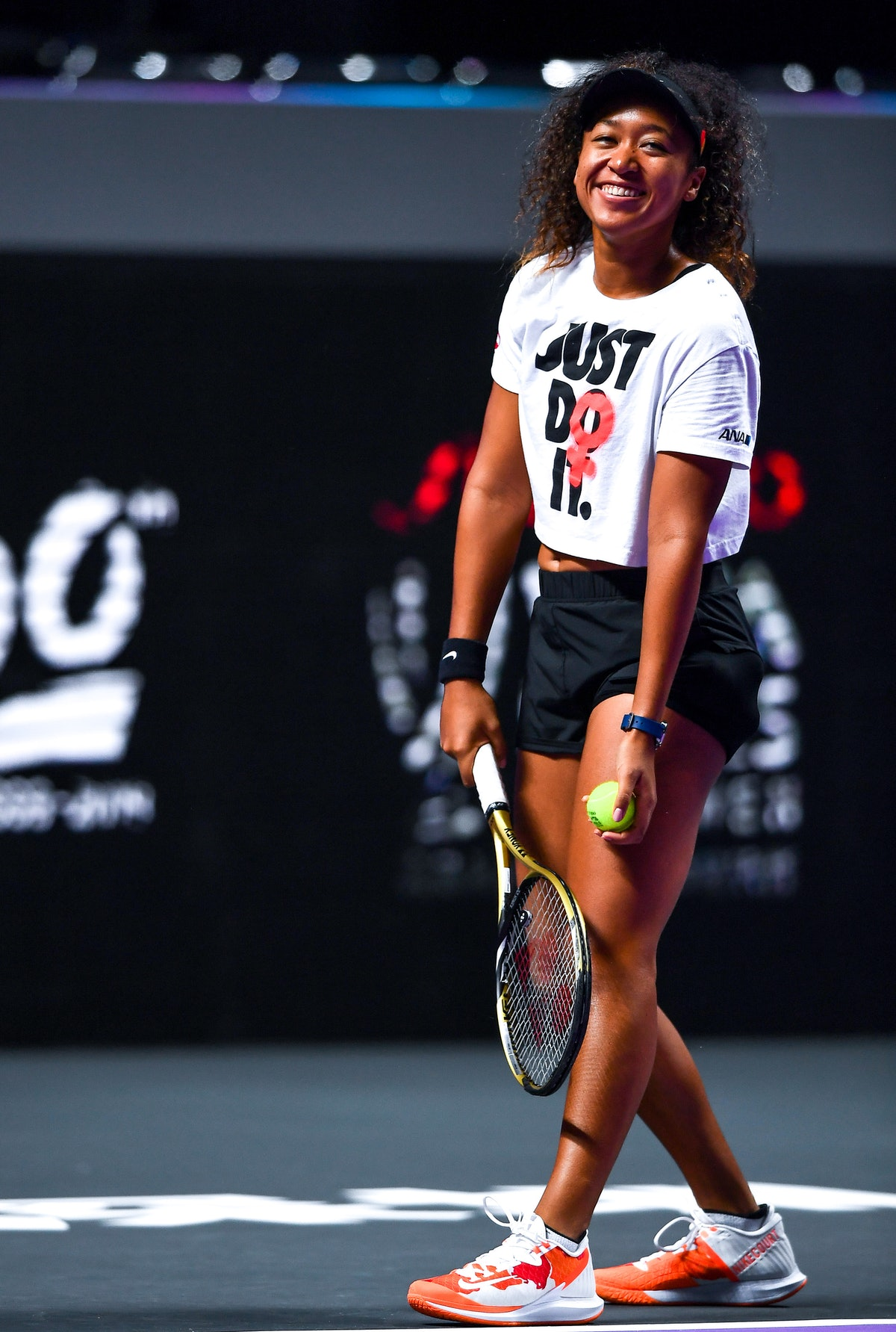 Naomi Osaka of Japan, who will compete in the 2021 Olympics, attends a training session.