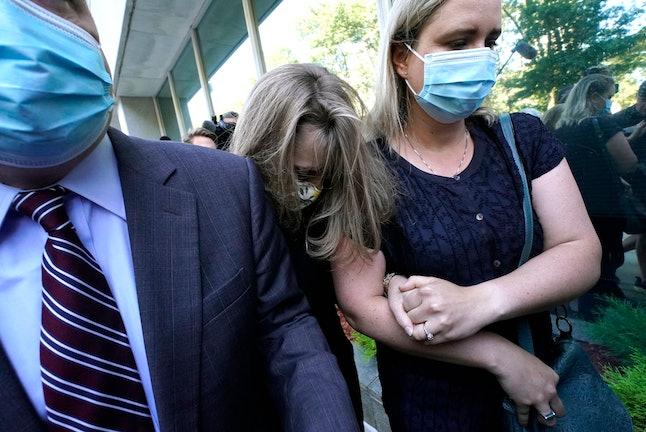 German-born American TV actress Allison Mack(C) arrives at Brooklyn Federal Court on June 30, 2021 i...