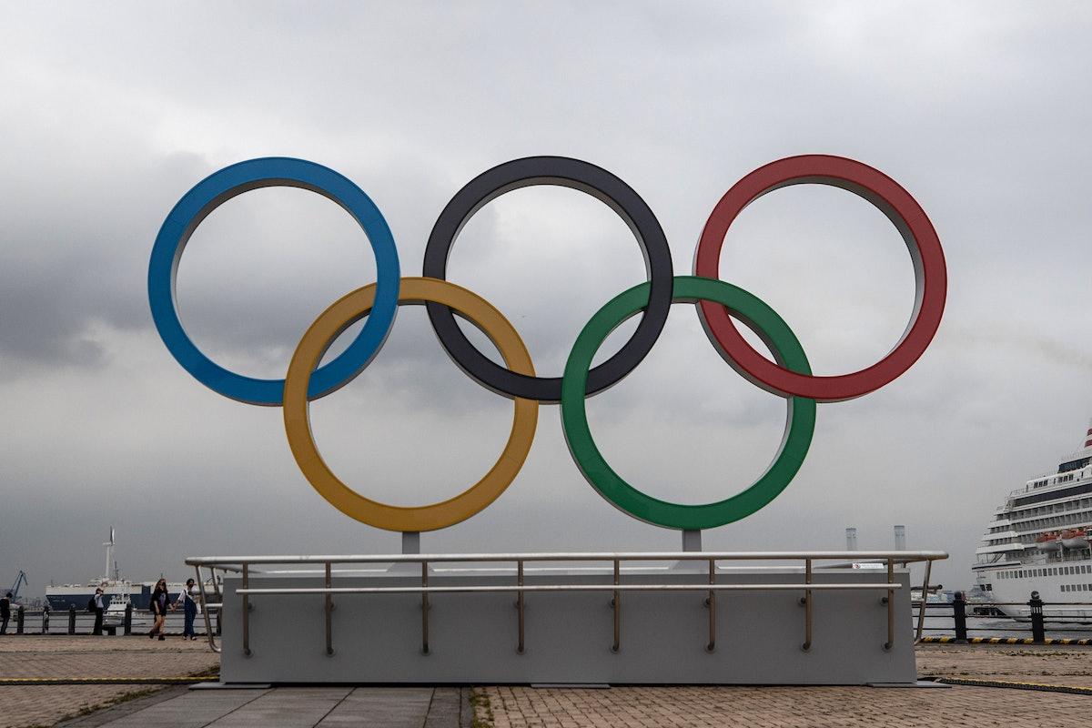 The 2021 Olympic Rings are displayed at Akarenga Park in Yokohama, Japan.