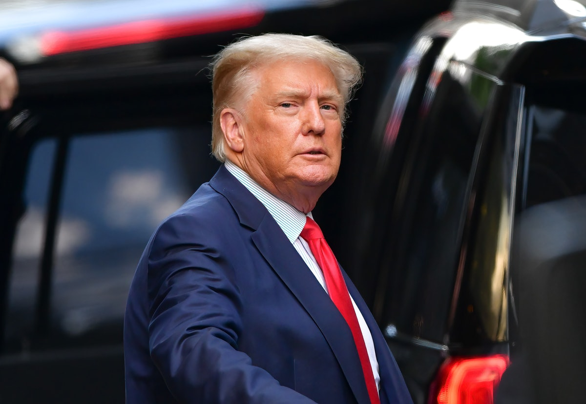 Former U.S. President Donald Trump leaves Trump Tower in Manhattan on May 18, 2021 in New York City.