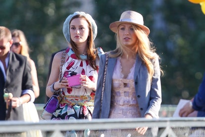 Leighton Meester and Blake Lively are sighted on location for 'Gossip Girl' on July 5, 2010 in Paris...