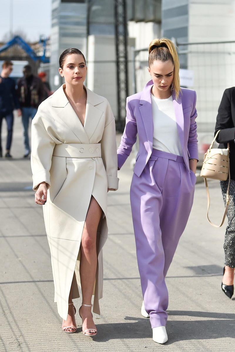 MILAN, ITALY - FEBRUARY 23: Cara Delevigne Ashley Benson attends the Boss fashion show on February 23, 2020 in Milan, Italy. (Photo by Jacopo Raule/WireImage)