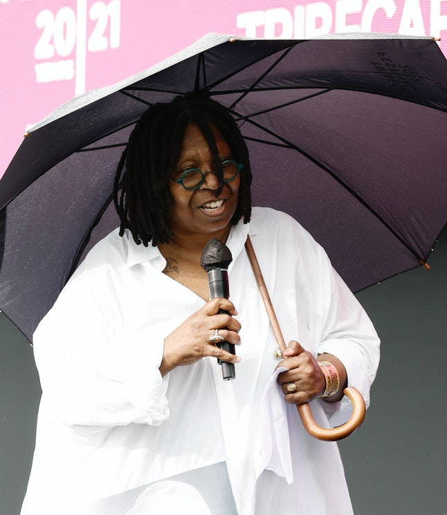 NEW YORK, NEW YORK - JUNE 13: Whoopi Goldberg speaks onstage at Q&A for Whoopi's Animated Shorts dur...