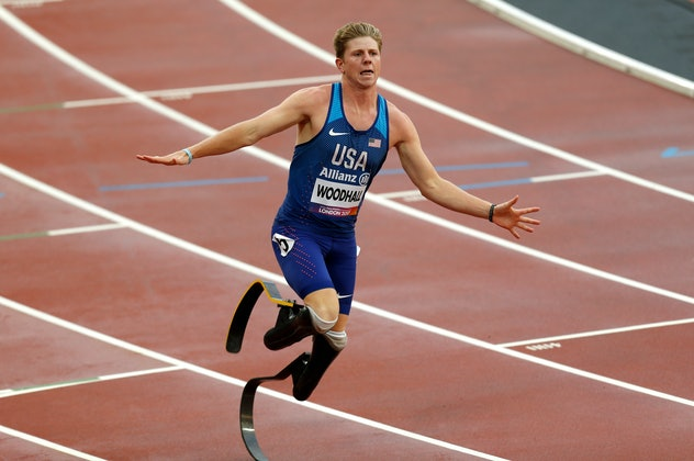 USA's Hunter Woodhall during the Men's 4x100m Relay T42-47 during day ten of the 2017 World Para Ath...