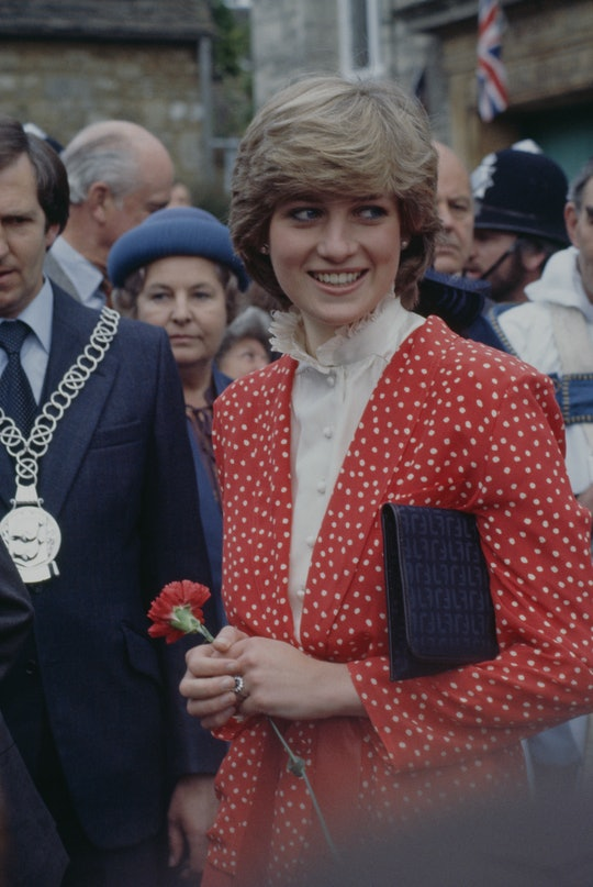 Lady Diana Spencer (1961 - 1997) during her first 'walkabout' with fiance Prince Charles, in Tetbury...