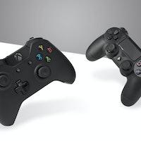 A Sony DualShock 4 wireless controller (R) and Microsoft Xbox One wireless controller, taken on Janu...