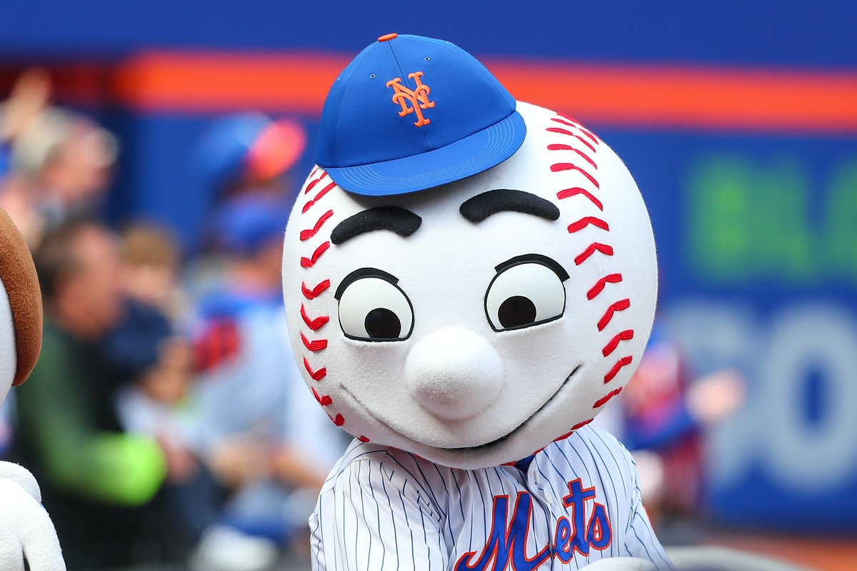 FLUSHING, NY - APRIL 03:  Mr Met comes out to sing take me out to the ballgame in the seventh inning...