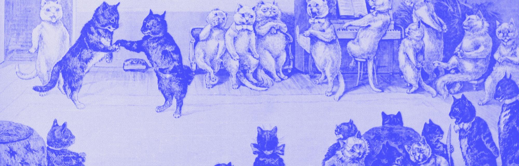 (Original Caption) Cats: A cat's party. Woodcut by Louis Wain, 1891.