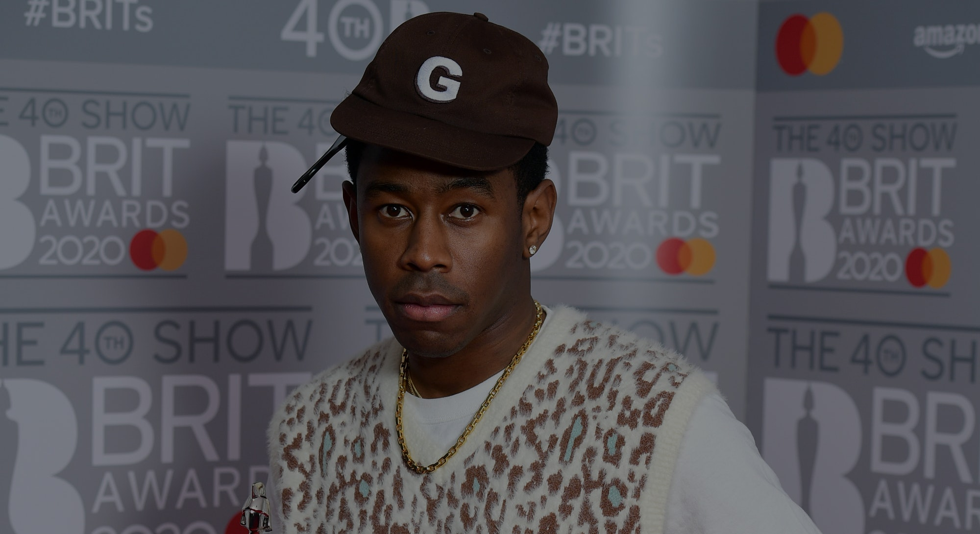 Tyler, The Creator with the Brit Award for International Male Solo Artist in the press room at the B...
