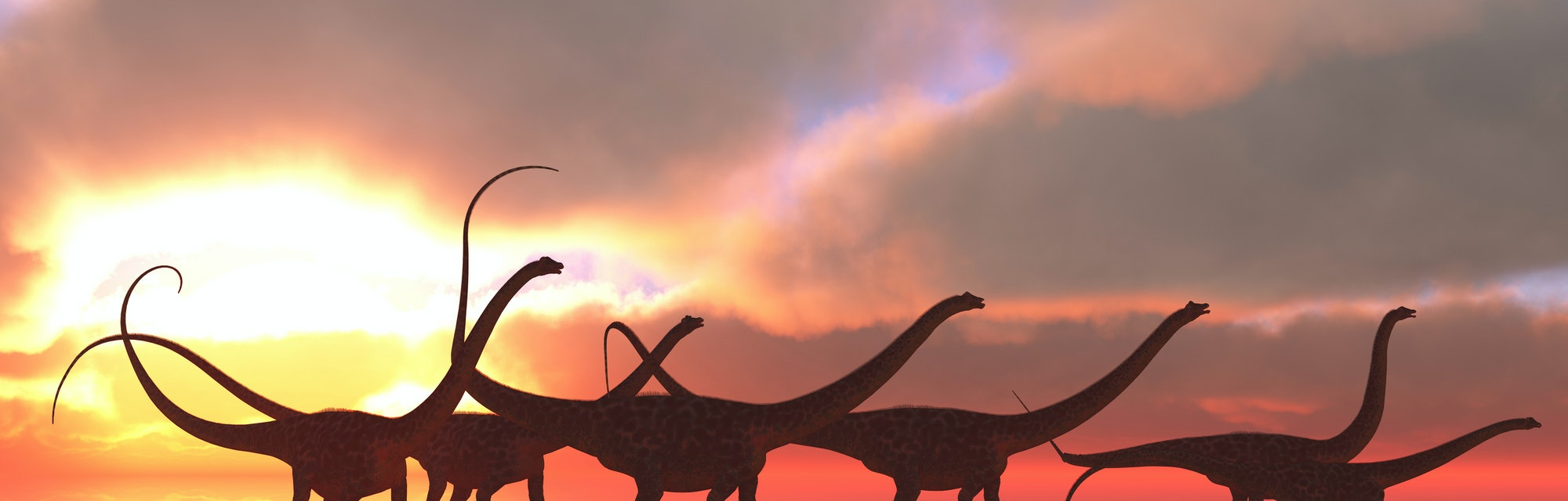 A Diplodocus dinosaur herd wades through shallow water on a lake that reflects their shadows and clo...