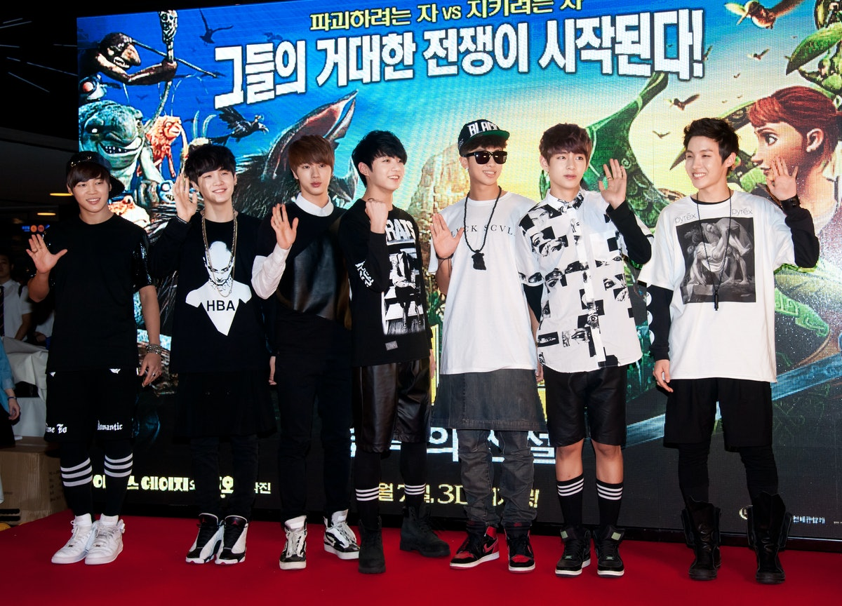 SEOUL, SOUTH KOREA - JULY 31:  BTS attend the American 3D Computer-Animated Film 'Epic' Red Carpet at Wangsimni CGV on July 31, 2013 in Seoul, South Korea.  (Photo by Choi Soo-Young/Multi-Bits via Getty Images)