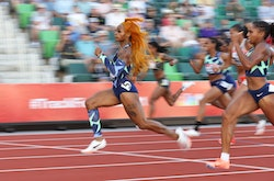 EUGENE, OR - JUNE 19:  Sha'Carri Richardson competes in the Women's 100 Meter on day 2 of the 2020 U...
