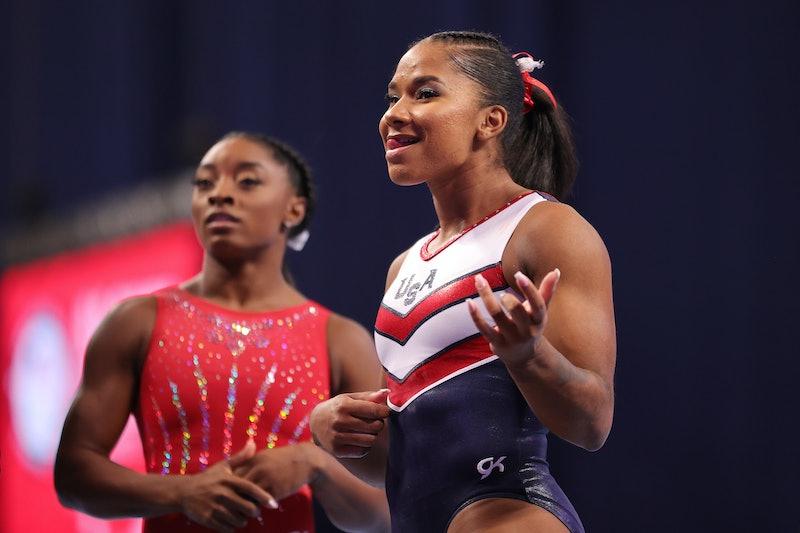 Simone Biles and Jordan Chiles ahead of the 2021 U.S. Gymnastics Olympic Trials. Photo by Carmen Man...