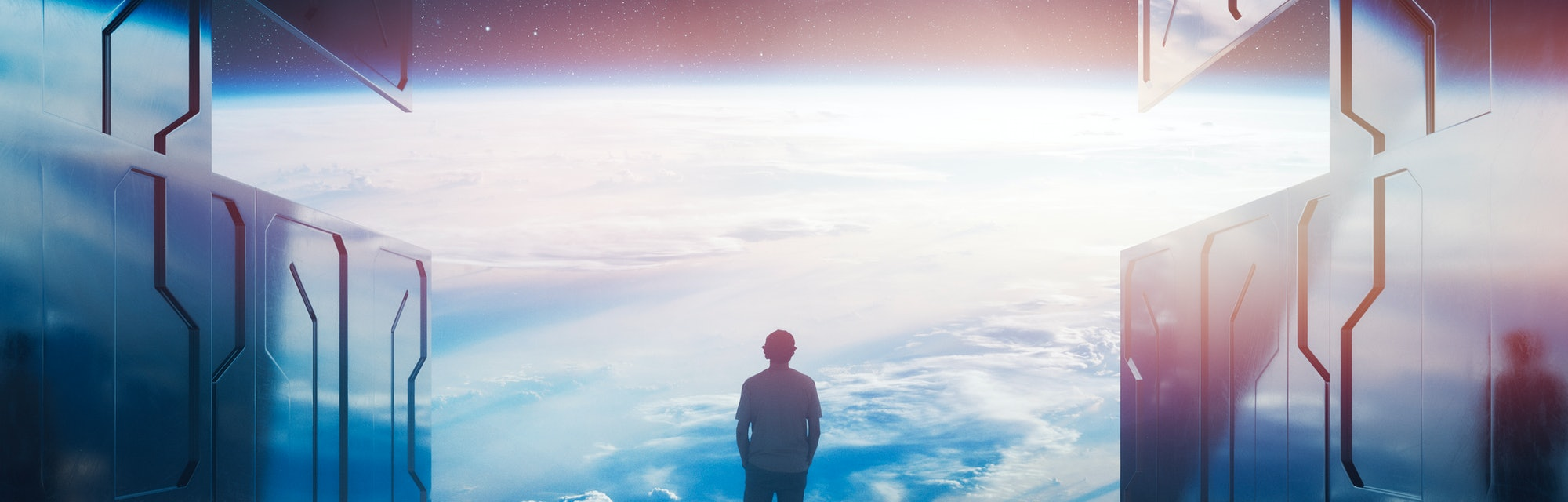 Casual man standing on space platform watching planet Earth. 3D generated image. Earth texture is fr...