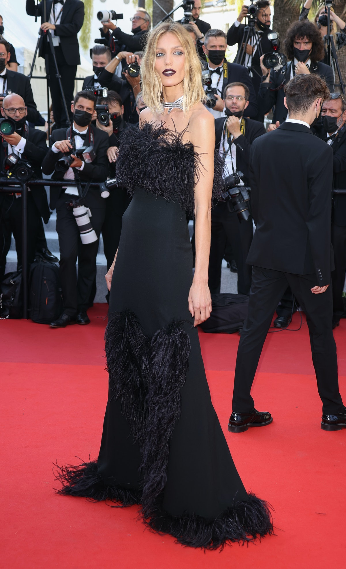 """CANNES, FRANCE - JULY 10: Anja Rubik attends the """"De Son Vivient (Peaceful)"""" screening during the 74th annual Cannes Film Festival on July 10, 2021 in Cannes, France. (Photo by Mike Marsland/WireImage)"""