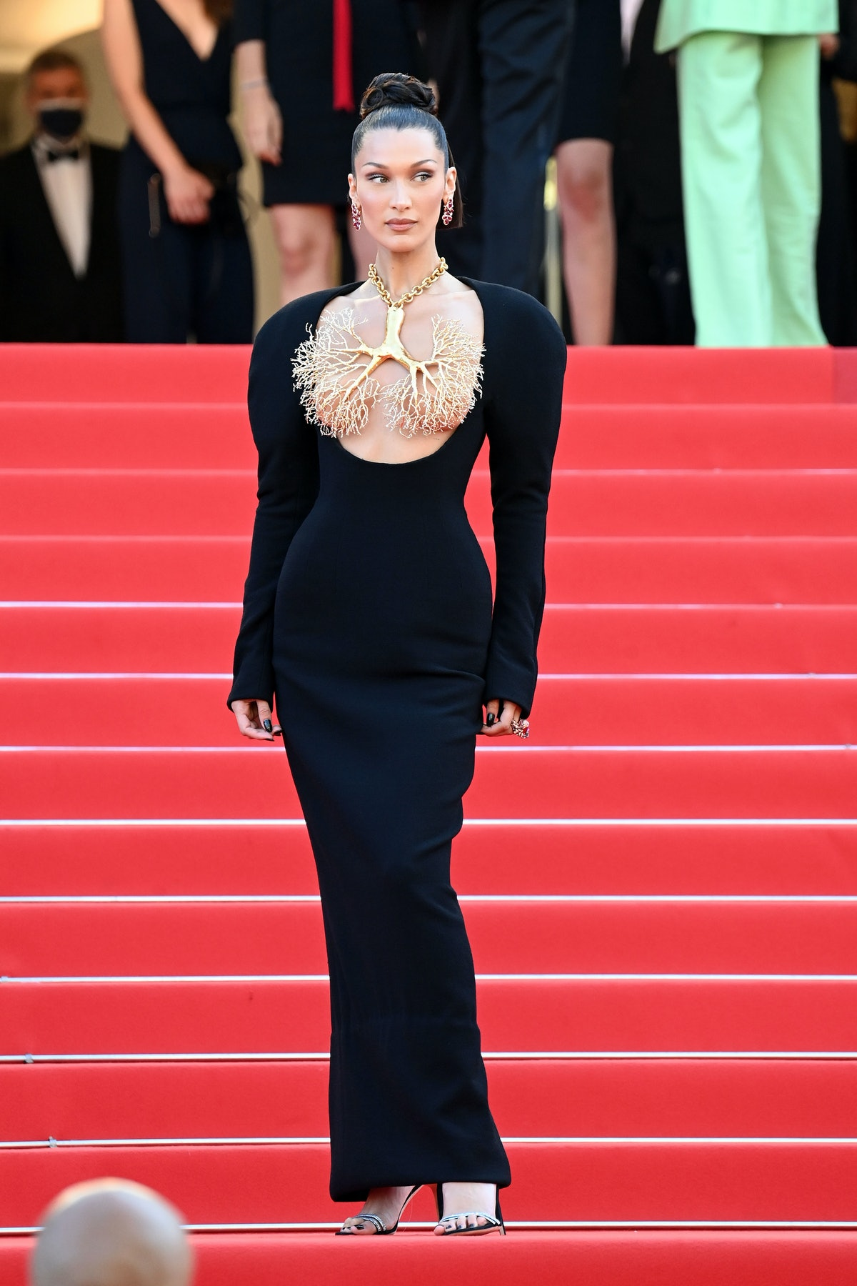 """CANNES, FRANCE - JULY 11: Bella Hadid attends the """"Tre Piani (Three Floors)"""" screening during the 74th annual Cannes Film Festival on July 11, 2021 in Cannes, France. (Photo by Daniele Venturelli/WireImage)"""