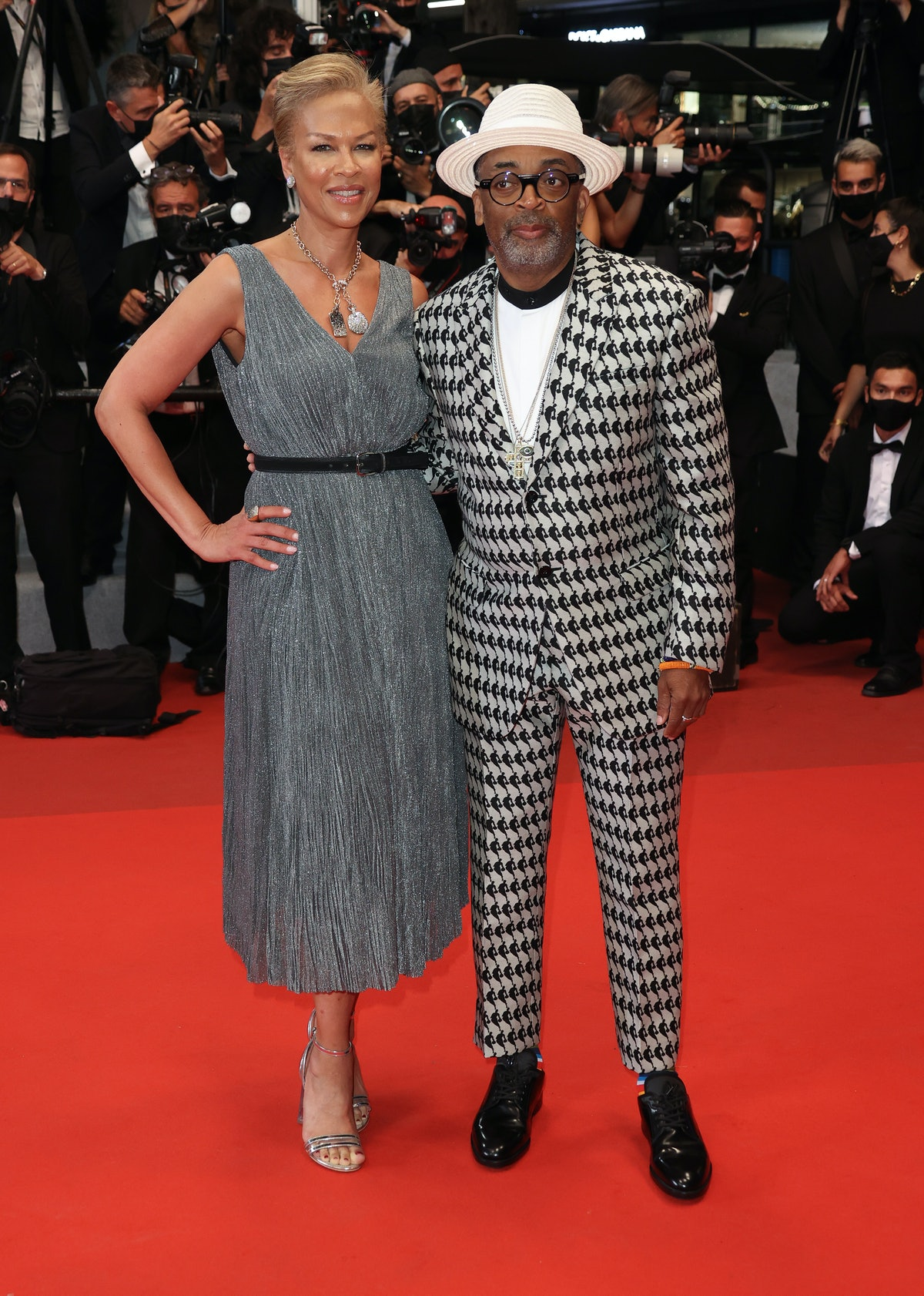 """CANNES, FRANCE - JULY 10: Spike Lee and Tonya Lewis Lee attend the """"Flag Day"""" screening during the 74th annual Cannes Film Festival on July 10, 2021 in Cannes, France. (Photo by Mike Marsland/WireImage)"""