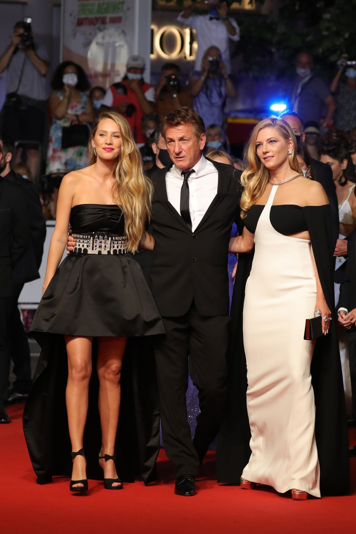 """CANNES, FRANCE - JULY 10: Sean Penn, Dylan Penn and Katheryn Winnick attend the """"Flag Day"""" screening during the 74th annual Cannes Film Festival on July 10, 2021 in Cannes, France. (Photo by Vittorio Zunino Celotto/Getty Images for Kering)"""