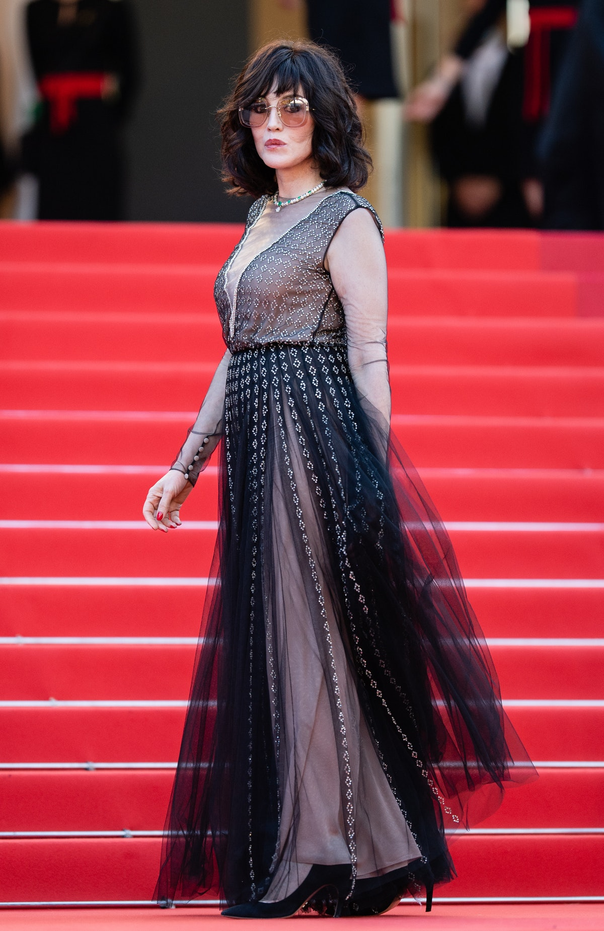 """CANNES, FRANCE - JULY 10: Isabelle Adjani attends the """"De Son Vivient (Peaceful)"""" screening during the 74th annual Cannes Film Festival on July 10, 2021 in Cannes, France. (Photo by Samir Hussein/WireImage)"""