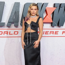 Florence Pugh improvised the 'Black Widow' period scene after reading a sexist joke. Photo via Getty Images